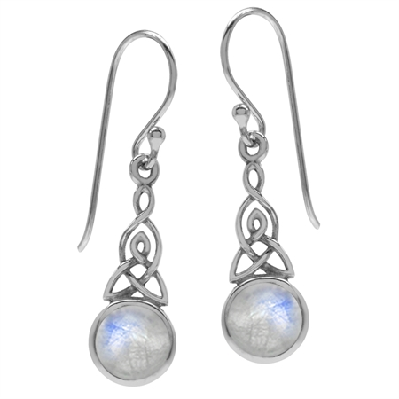 Natural Moonstone 925 Sterling Silver Triquetra Celtic Knot Dangle Hook Earrings