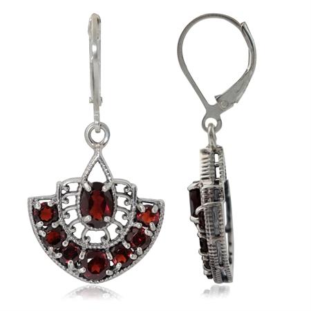 4.66ct. Natural January Birthstone Garnet 925 Sterling Silver Filigree Earrings