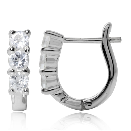 3-Stone Genuine White Topaz 925 Sterling Silver English Hook Earrings