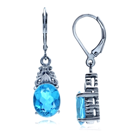 5.94ct. Genuine Swiss Blue Topaz White Gold Plated 925 Sterling Silver Leverback Dangle Earrings