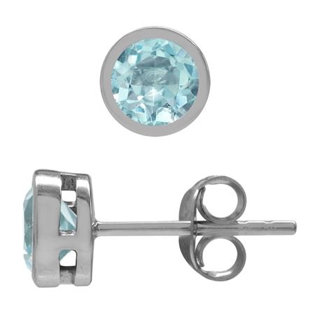 1.44ct. 5MM Genuine Round Shape Blue Topaz 925 Sterling Silver Bezel Set Stud Earrings