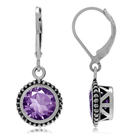 3.24ct. Natural Amethyst 925 Sterling Silver Bali/Balinese Style Leverback Dangle Earrings