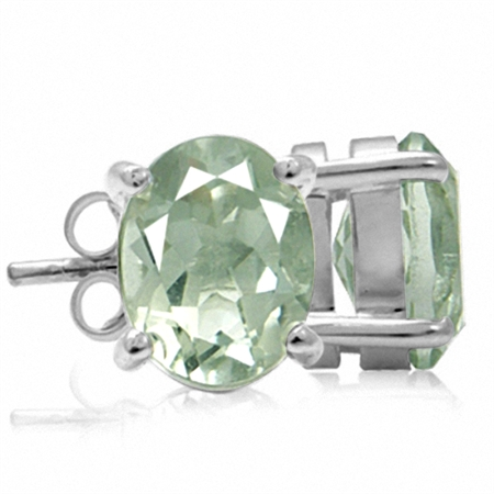 3.6ct. 9x7MM Natural Oval Shape Green Amethyst 925 Sterling Silver Stud Earrings