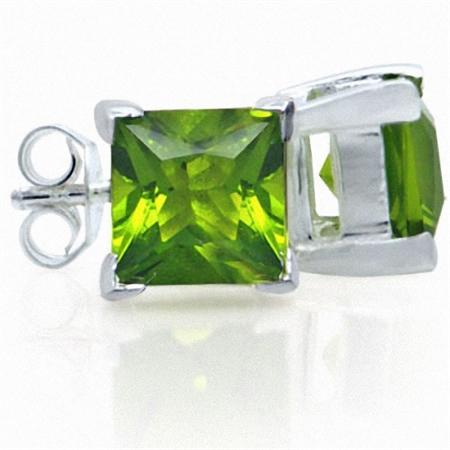 Peridot Green CZ 925 Sterling Silver Stud Earrings