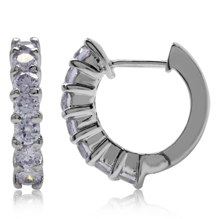 Lavender CZ 925 Sterling Silver Journey Huggie Earrings