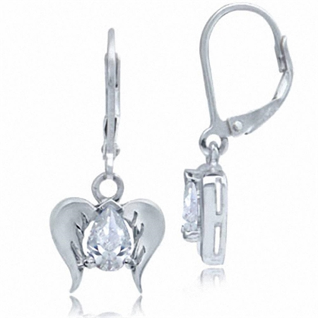 White CZ 925 Sterling Silver Angel Wings Dangle Leverback Earrings