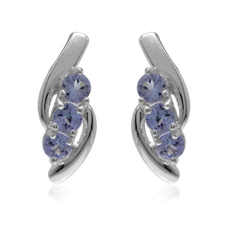 3-Stone Genuine Tanzanite White Gold Plated 925 Sterling Silver Stud Earrings