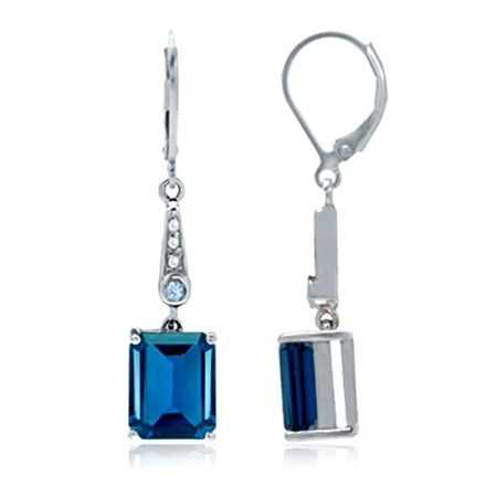 7.16ct. Genuine London Blue Topaz White Gold Plated 925 Sterling Silver Leverback Earrings