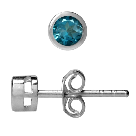 3MM Extra Petite Genuine London Blue Topaz 925 Sterling Silver Bezel Set Stud Earrings