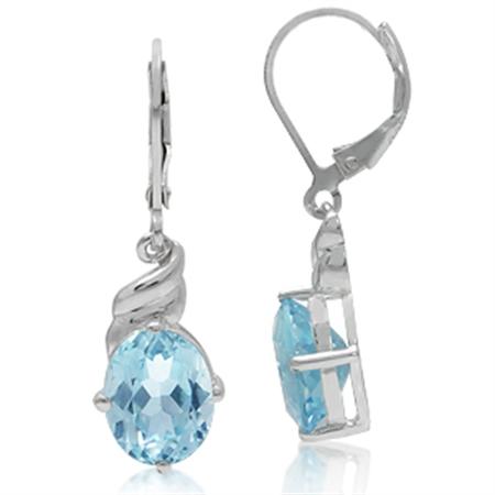 6.68ct. 10x8MM Genuine Oval Shape Blue Topaz 925 Sterling Silver Leverbacks Dangle Earrings