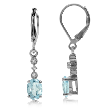 2.04ct. Genuine Blue Topaz White Gold Plated 925 Sterling Silver Leverback Dangle Earrings