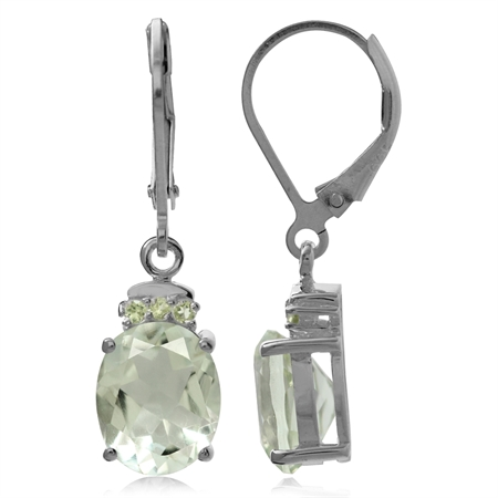 4.88ct. Natural Green Amethyst & Peridot 925 Sterling Silver Leverback Dangle Earrings