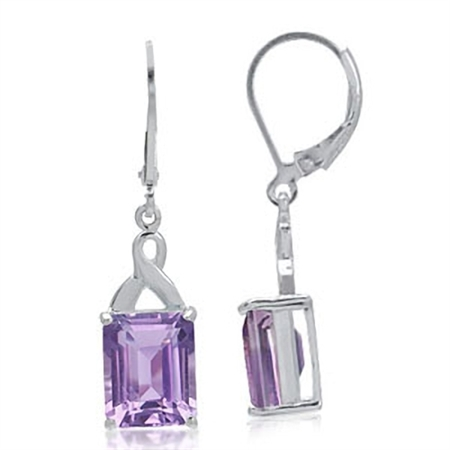 6.64ct. Natural February Birthstone Amethyst 925 Sterling Silver Leverback Earrings