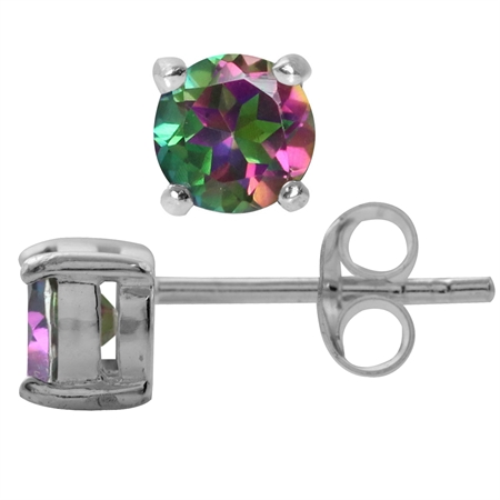 1.26ct. 5MM Petite Round Shape Mystic Fire Topaz 925 Sterling Silver Stud Earrings
