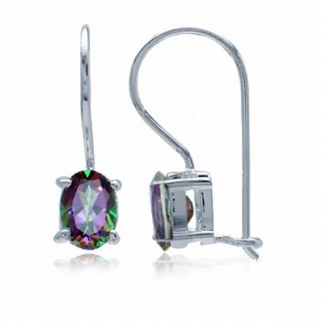 1.82ct. 7x5MM Oval Shape Mystic Fire Topaz 925 Sterling Silver Closure Hook Earrings
