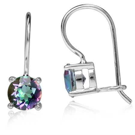 2.06ct. 6MM Round Shape Mystic Fire Topaz 925 Sterling Silver Closure Hook Earrings