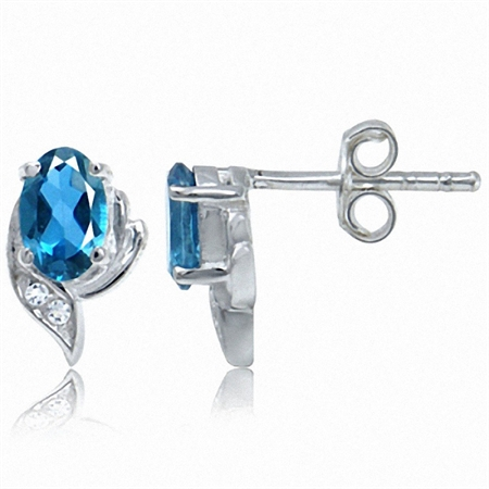 1.16ct. Petite Genuine London Blue & White Topaz 925 Sterling Silver Stud Earrings
