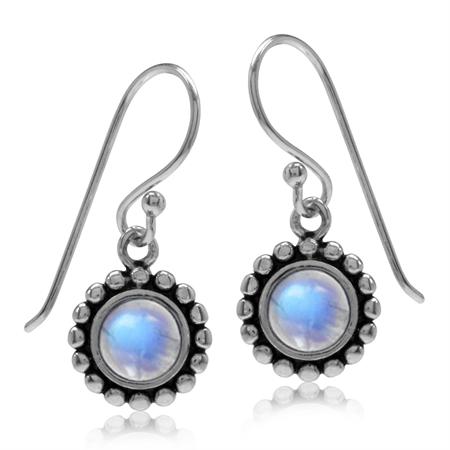5MM Natural Moonstone 925 Sterling Silver Bali/Balinese Style Dangle Hook Earrings