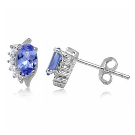 Petite Genuine Tanzanite & White Topaz 925 Stering Silver Stud Earrings
