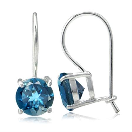 3.1ct. Genuine London Blue Topaz 925 Sterling Silver Hook Earrings