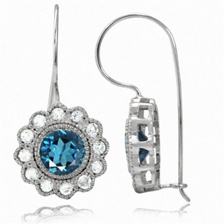 2.56ct. Genuine London Blue Topaz White Gold Plated 925 Sterling Silver Flower Hook Earrings