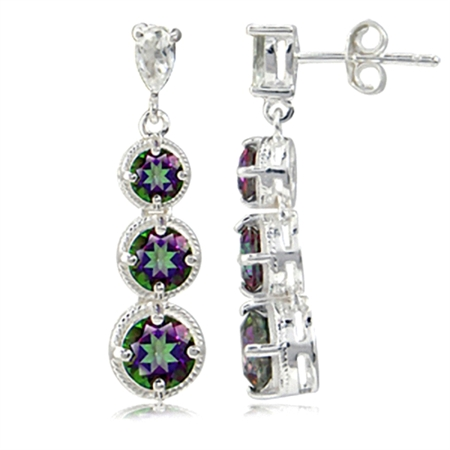 3.98ct. 3-Stone Mystic Fire Topaz 925 Sterling Silver Graduated Rope Dangle Post Earrings