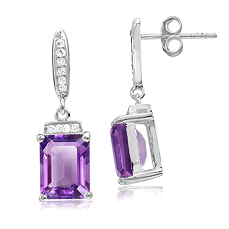 4.36ct. Natural Amethyst & White Topaz 925 Sterling Silver Dangle Post Earrings