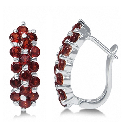 2.88ct. Natural Garnet 925 Sterling Silver Cluster Huggies Earrings