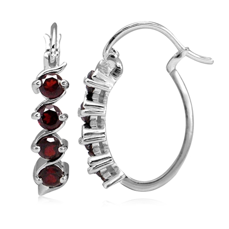 1.28ct. Natural Garnet White Gold Plated 925 Sterling Silver Journey Hoop Earrings