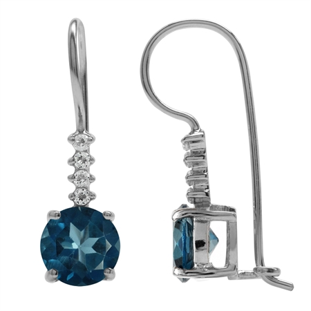 3.1ct. Genuine London Blue Topaz 925 Sterling Silver Hook Earrings