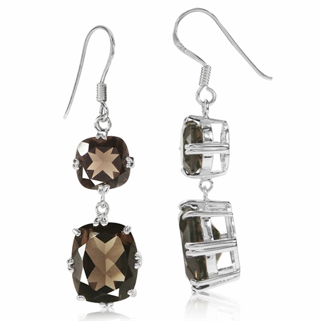 13.4ct. Natural Smoky Quartz 925 Sterling Silver Dangle Hook Earrings