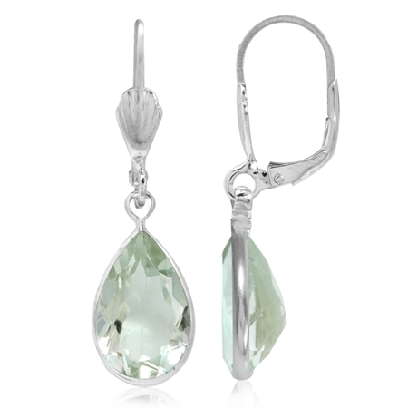 7.98ct. Natural Green Amethyst 925 Sterling Silver Dangle Drop Leverback Earrings