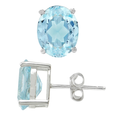 6ct. 10x8MM Genuine Oval Shape Blue Topaz White Gold Plated 925 Sterling Silver Stud Earrings