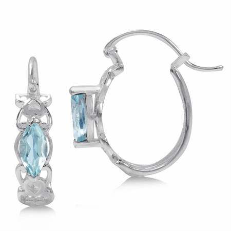 1.24ct. Genuine Sky Blue Topaz 925 Sterling Silver Filigree Heart Victorian Style Hoop Earrings