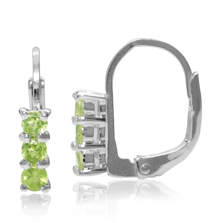 Petite 3-Stone Natural Peridot White Gold Plated 925 Sterling Silver Leverback Earrings