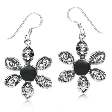 Created Black Onyx 925 Sterling Silver Filigree Flower Dangle Earrings