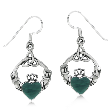 Created Malachite 925 Sterling Silver Triquetra Celtic Knot Claddagh Dangle Hook Earrings
