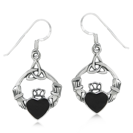 Created Black Onyx 925 Sterling Silver Triquetra Celtic Knot Claddagh Dangle Hook Earrings