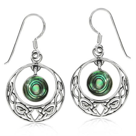 Dangle Abalone/Paua Shell 925 Sterling Silver Celtic Knot Circle Hook Earrings