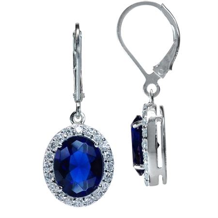 Sapphire Blue CZ White Gold Plated 925 Sterling Silver Leverback Dangle Earrings