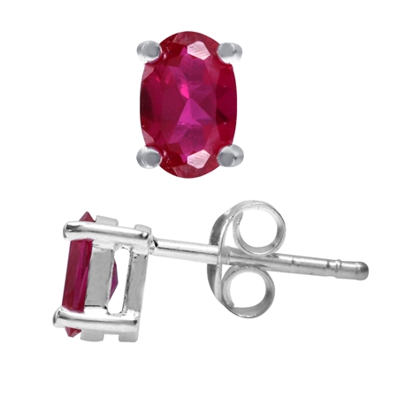 6x4MM Petite Oval Shape Simulated Ruby 925 Sterling Silver Stud Earrings