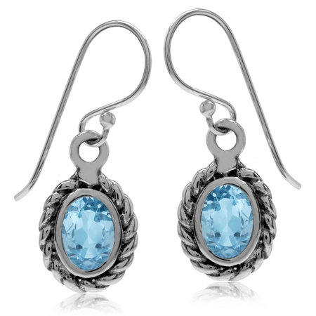 1.92ct. Genuine Blue Topaz 925 Sterling Silver Rope Dangle Hook Earrings