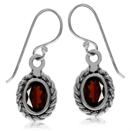 1.86ct. Natural Garnet 925 Sterling Silver Rope Dangle Hook Earrings