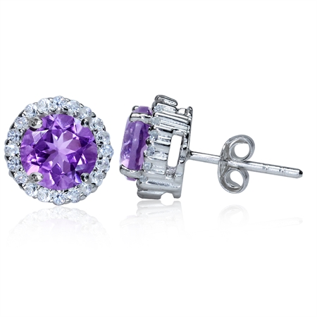 2.42ct. Natural Amethyst & White Topaz Gold Plated 925 Sterling Silver Stud Earrings