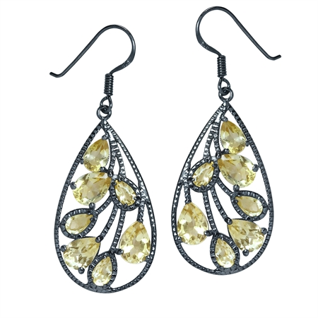 5.22ct. Natural Citrine Black Rhodium Plated 925 Sterling Silver Drop Dangle Earrings