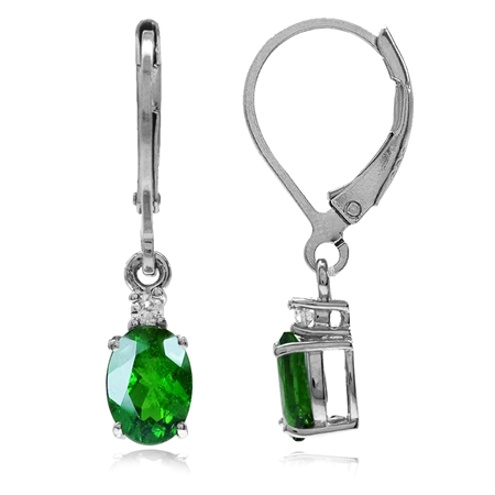 1.98ct. Natural Green Chrome Diopside & White Topaz 925 Sterling Silver Leverback Earrings