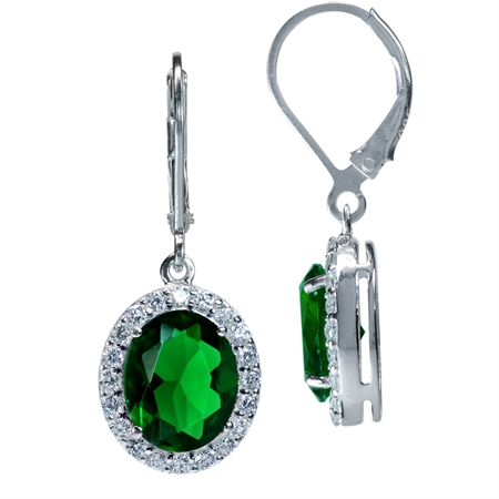 Tsavorite Green CZ White Gold Plated 925 Sterling Silver Leverback Dangle Earrings
