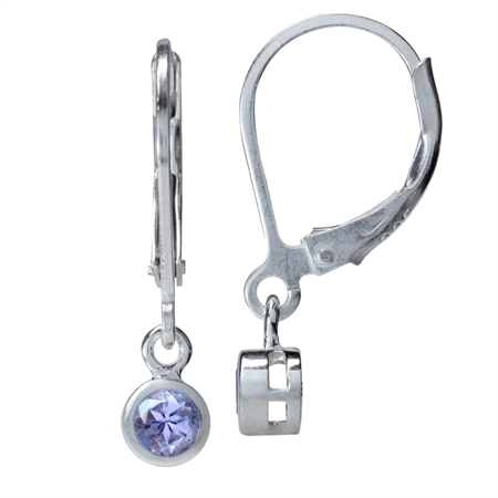 3MM Extra Petite Genuine Round Shape Tanzanite 925 Sterling Silver Leverback Dangle Earrings