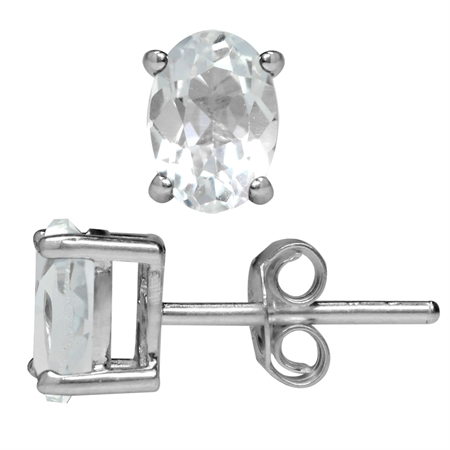 2ct. Genuine White Topaz White Gold Plated 925 Sterling Silver Stud Earrings