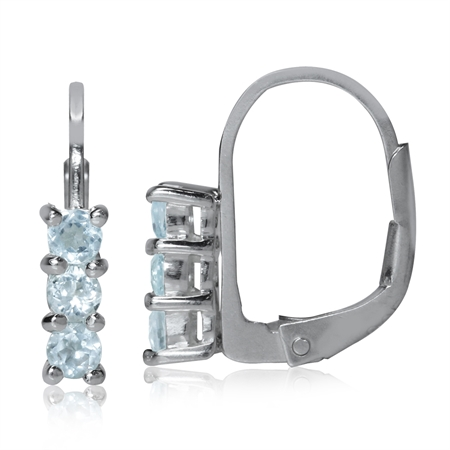 Petite 3-Stone Genuine Blue Topaz White Gold Plated 925 Sterling Silver Leverback Earrings